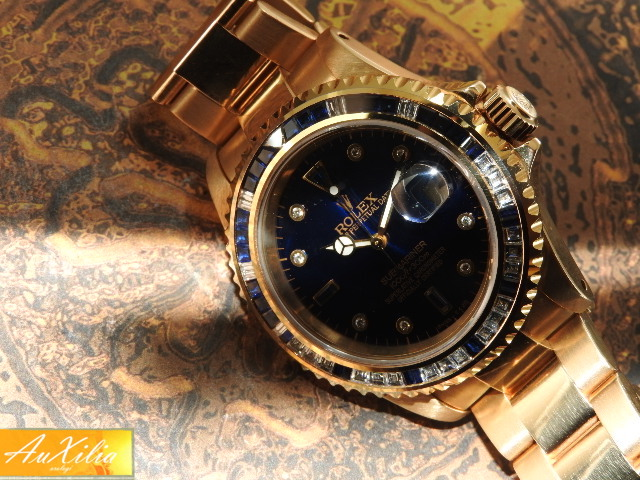Rolex Submariner oro lunetta e quadrante zaffiri e diamanti (after market)